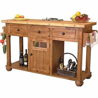 Rustic Oak Wood Handmade Kitchen Island Table Country Vintage Style Furniture