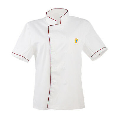 Men Women Single Breasted Short Sleeve Chef Jacket Coat Uniform Cook Clothes
