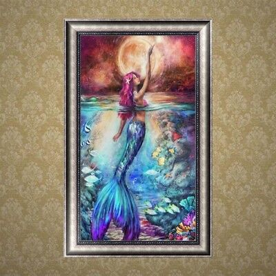 5D Diamond Embroidery Painting Mermaid Cross Stitch DIY Craft Office Home Decor