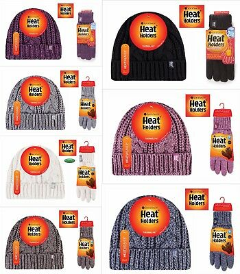 Ladies Heat Holders Tog Thermal Warm Turn Over Hat  & (m/l) Gloves Matching Set