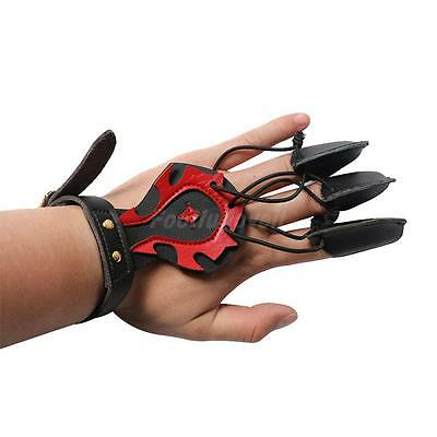 Archery 3 Finger Glove Finger Guard Bow Hunting Shooting Protective Gear