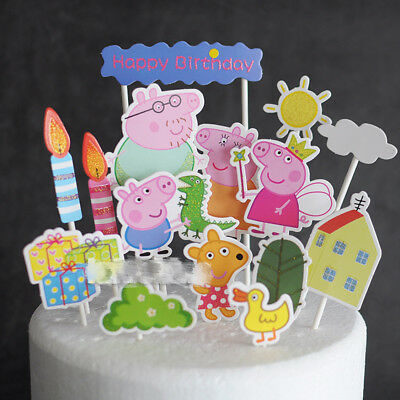 Peppa Pig Cake Topper Decoration toppers picks, cake & party 15 pcs