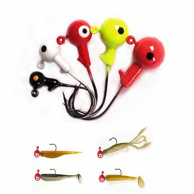 5pcs Perforated Sharp Durable Head Lead Head Hook Jigging Bait Carbon Steel