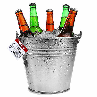 12L Galvanised Metal Beer Bucket Heavy Duty Wine Cooler Ice Garden Party Drinks