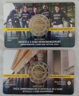"""2  Euros Belgium 2017 """"200 Years of the University of Ghent"""" Coin Card"""