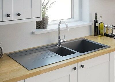 ISING 1.5 Bowl Kitchen Reversible Grey Resin Sink & Drainer 1000mm x 500mm