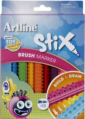 New Artline Stix Brush Marker Pack Of 10 Painting Drawing & Colouring Washable