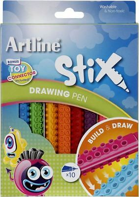 New Artline Stix Drawing Pen Pack Of 10 Drawing & Colouring Washable Non-Toxic