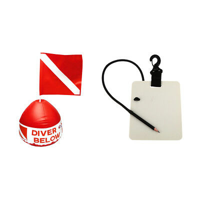 Red & White Dive Scuba Flag with Buoy + Underwater Writing Board with Pencil