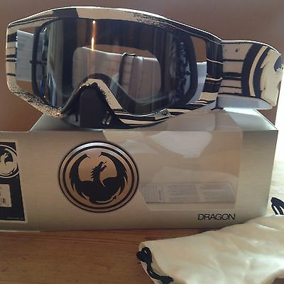 Dragon Vendetta Motocross Mx Goggles Paint Drip Black White Clear Aft Lense