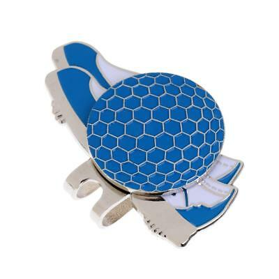 Stainless Steel Shoe Golf Hat/ Visor Clip with Magnetic Ball Marker Blue