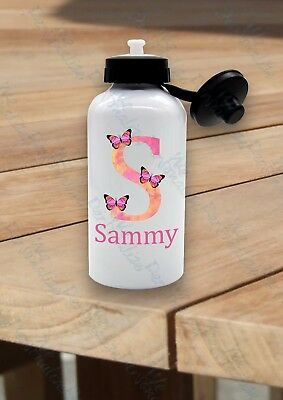 Back To School Girls PERSONALISED Kids Water Bottle Name Juice Drink Buttlerfly