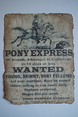 VINTAGE REPRODUCTION OLD WEST PONY EXPRESS RIDERS WANTED POSTER by KDAshley