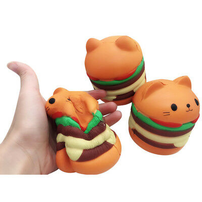Squishy Cat Head Burger Simulation Food Toy Soft Slow Rebound Bounce Props Spot