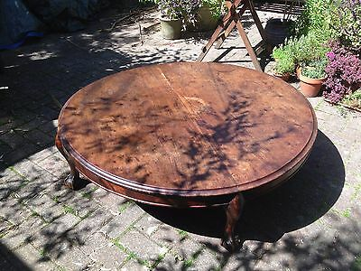 Large Round Antique Coffee Table with Claw Feet
