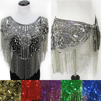 NEW Glitter Evening Scarf Sequin Shawl Wedding Party Wrap Fringe beads Hip Scarf