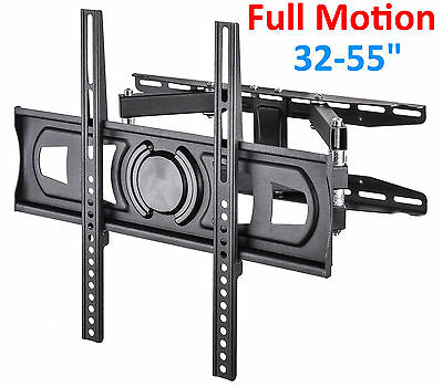 Articulating Flat Panel Full Motion Smart Tv Wall Mount Dual Arm LCD LED 32-55""