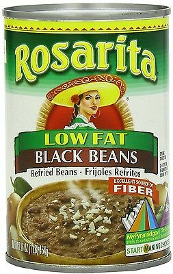 Rosarita Low Fat Refried Black Beans, 16 Ounce (Pack of 12)