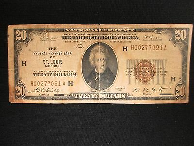 Series 1929 Twenty Dollar National Note Federal Reserve Bank Of St. Louis