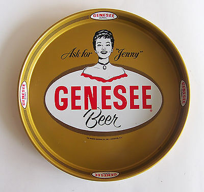 """NOS   Genesee Beer Tray-""""Ask-for-Jenny """"    12 Inch Gold Background"""