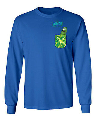 Rick and Morty Pickle Rick In A Pocket TV Funny Mens & Youth Long Sleeve T-Shirt