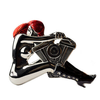 Hot Buckles Belt Buckle Naked Woman on V-Twin Engine Silver/Red/Black