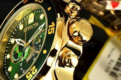Invicta Pro Diver Scub Chronograph Green Dial 18k Gold Plated SS Bracelt Watch