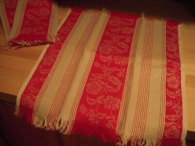 Antique Loom Woven Red and Ecru Fringed Show Towel : Floral Design - MINT