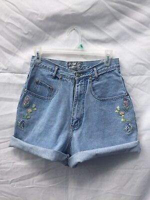 The Beverly Hills Denim Co Vintage High Wasted Embroidered Shorts 90s Size 9/10