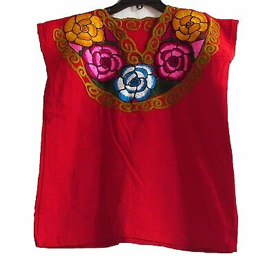 Girls Mexican Handmade Embroidered Linen Blouse (More Colors)