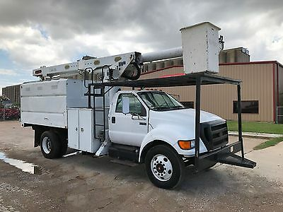 Ford F750 Forestry Bucket Truck Chipper Dump Bed Cat Diesel Altec Boom 2004 2005