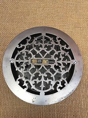 "Antique Victorian Era 8"" Cast Iron Floor Register Grate - Primitive Heating Vent"