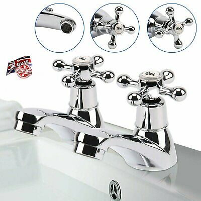 Victorian Chrome Twin Basin Sink Bath Taps Hot and Cold Pair Tap Traditional sty