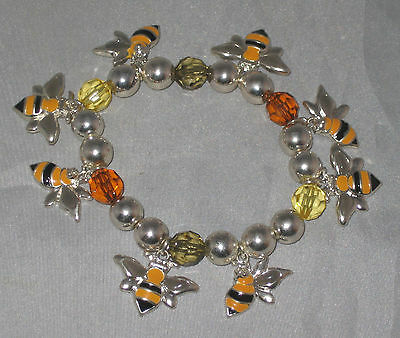 "BEES Bracelet Stretchy Fits 7"" Wrist NEW Black Yellow Silver Tone"