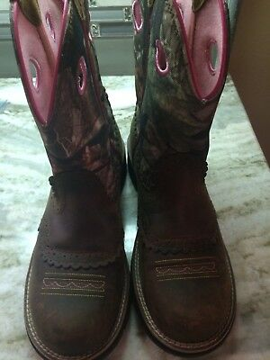 Ariat Women's Fatbaby Cowgirl Distressed Brown & Camo Boots Size 10 New Display