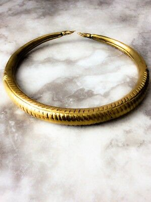 Vintage: 1970's - Rare Double Headed Snake Hammered Brass Collar Necklace,choker