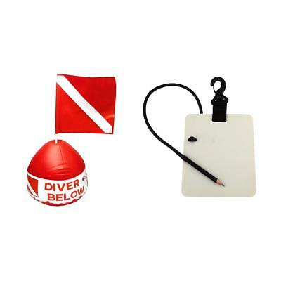 31 x 29.5cm Dive Scuba Flag with Inflatable Buoy + Underwater Writing Board