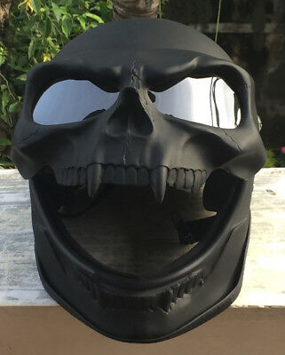 Motorcycle Helmet Skull Skeleton Death Dark Lord BLACK DEATH Full face Visor