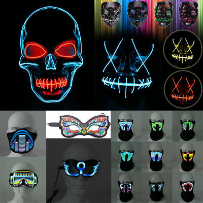 Flashing Face Mask Light Up Luminous For Halloween Party Rave Costume Decoration