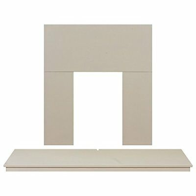 Adam Fireplace Back Panel and Hearth Set in Cream, 54 Inch