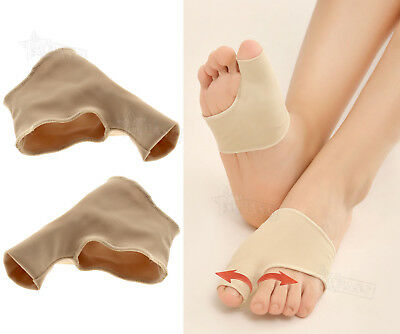 Pair of Fabric Gel Toe Bunion Pad Protector Hallux Valgus Corrector Sleeves L