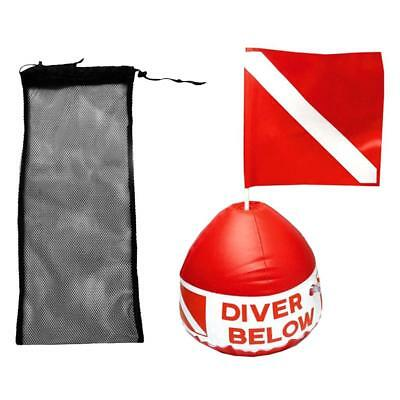 50 x 23.5cm Diving Swim Fin Shoes Mesh Bag + Scuba Flag with Inflatable Buoy