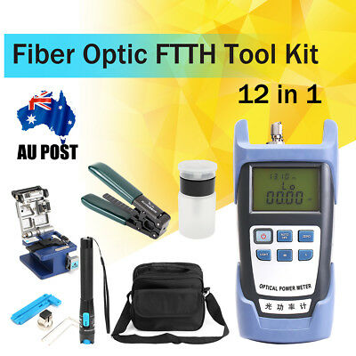 12 in 1 FTTH Splice Fiber Optic Tool Kits FC-6S Cleaver Crimper Fibre Stripping