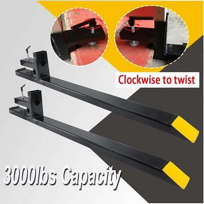 """60"""" LW Skid Steer Clamp on Pallet Fork Attachment 3000lb Capacity Bucket Tractor"""