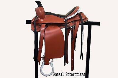 """18""""Western Tack Wade Pleasure Cowboy Leather Horse Saddle Headstall Breastplate"""