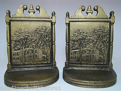 Antique Bradley & Hubbard Bookends B&H home trees ornate details cast iron gold