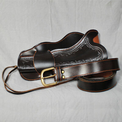 Dark Brown Leather Holster - Rig - Single - Fancy Dress, Cosplay, Theatre,