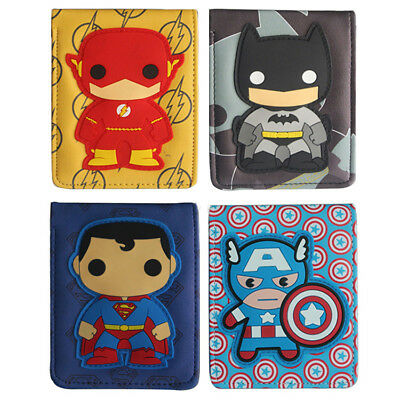 DC Marvel Comics Short Wallet superheroes Superman Batman Q Ver. Bifold  Purse