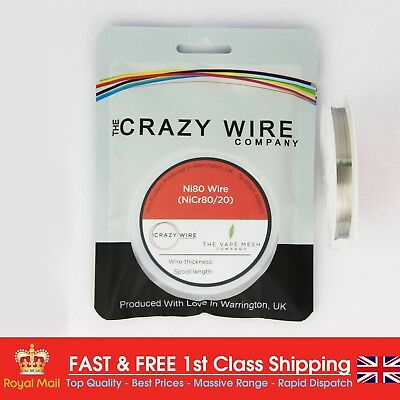 NI80 Nichrome 34 Gauge AWG (0.16mm) Resistance Wire- 33' Roll - 54.21 ohms/m