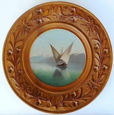 c.1890 Rare Swiss Black Forest Brienz Painted Carved Tray - Lake Geneva Motive